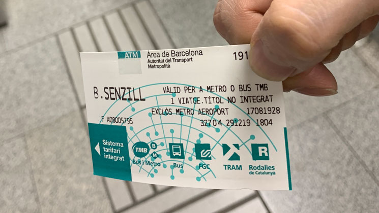 地下鉄の乗車チケット「Single ticket(Billete sencillo)」