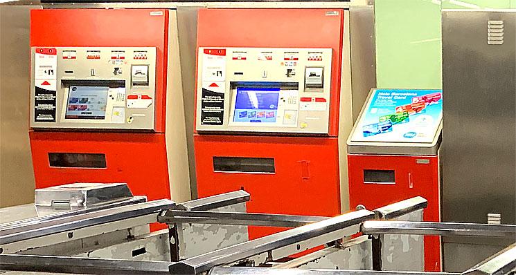地下鉄の自動券売機