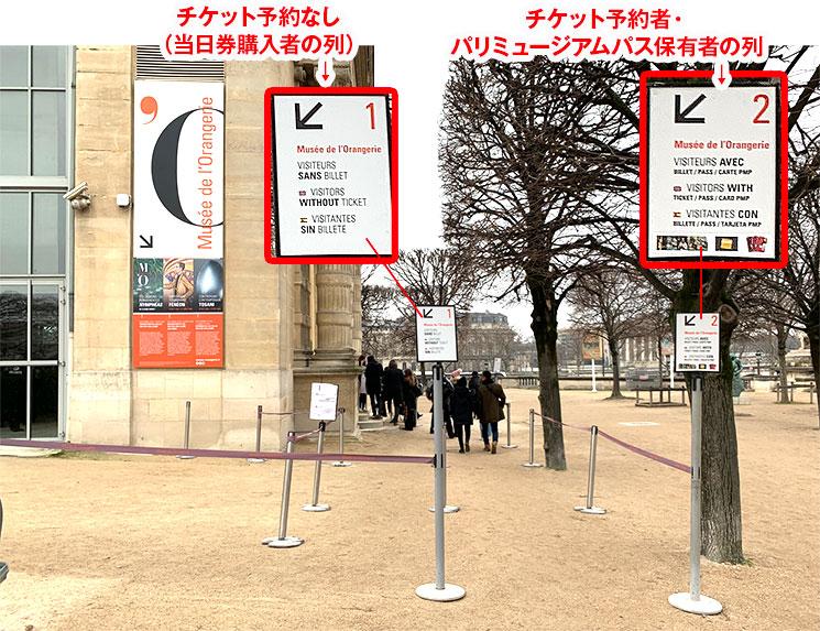 オランジュリー美術館 入口前の入場レーンの説明画像