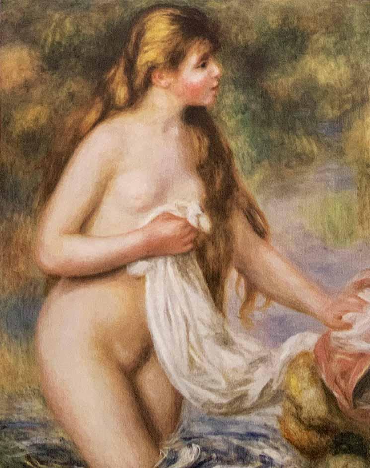 長い髪の浴女(1895年) - ルノワール作