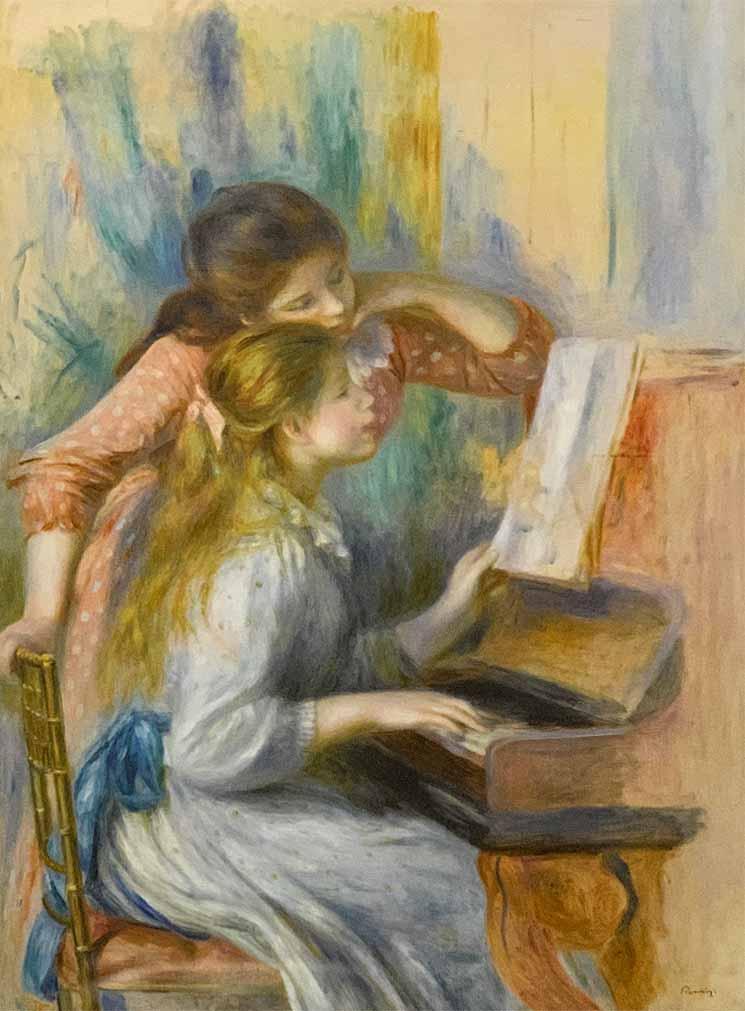 ピアノに寄る娘たち(1892年頃) - ルノワール作
