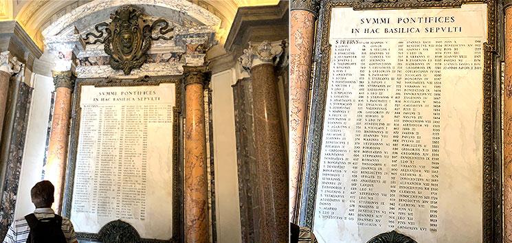 玄関廊(アトリウム) 歴代ローマ法王の在位年数を記した碑文