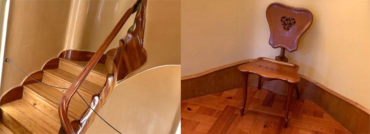 ガウディデザインの階段と椅子