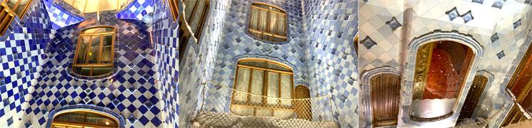 カサ・バトリョ 吹き抜けの壁面タイル装飾