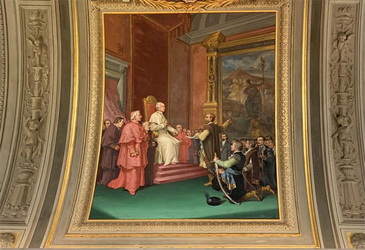 燭台のギャラリー 床に描かれたレオ13世の紋章