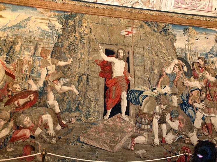 ラファエロの弟子達が下絵を描いたタペストリー「復活」