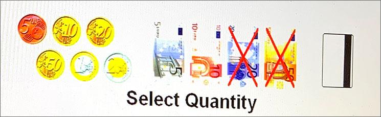 自動券売機 支払い可能な紙幣と硬貨の表示画面