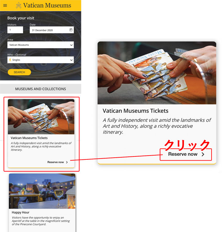 チケットの種類の選択画面
