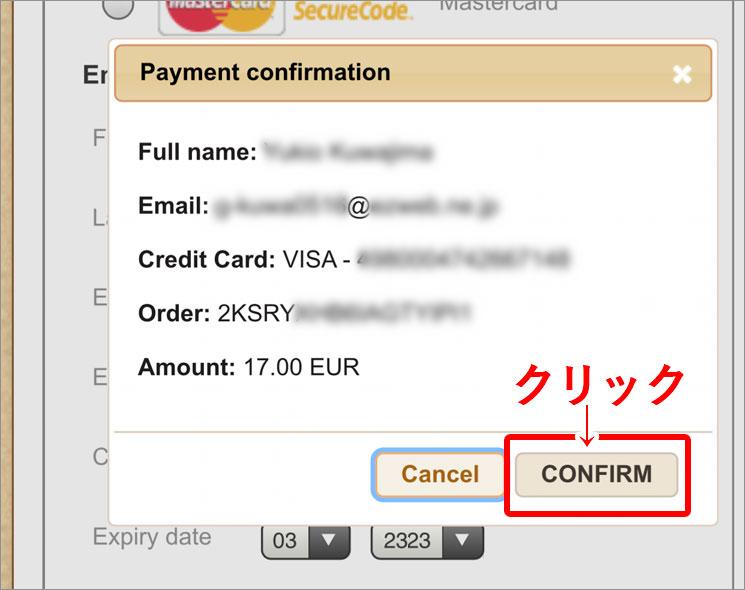 入力したお支払い情報の確認画面