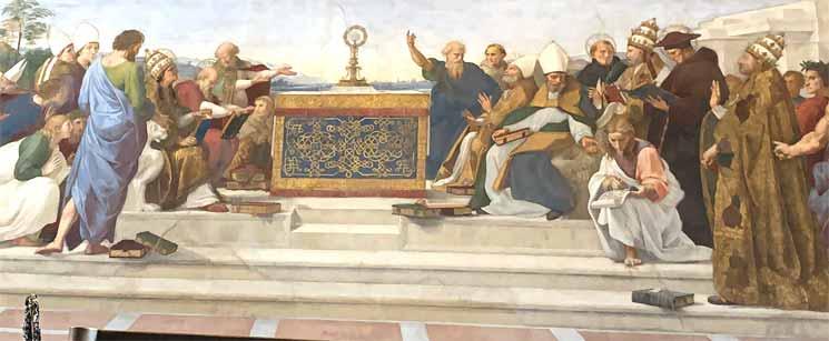 聖体の議論 聖グレゴリウス(モデルはユリウス2世)とシクトゥス4世