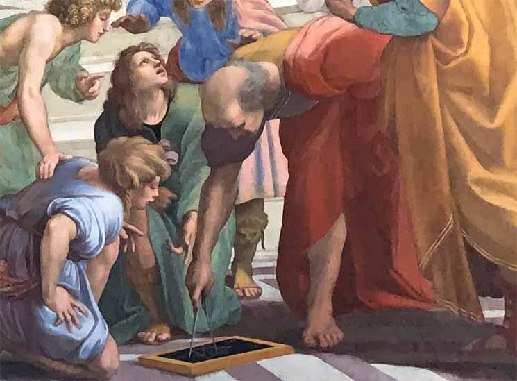 アテナの学堂内に描かれている 「ユーグリッド」