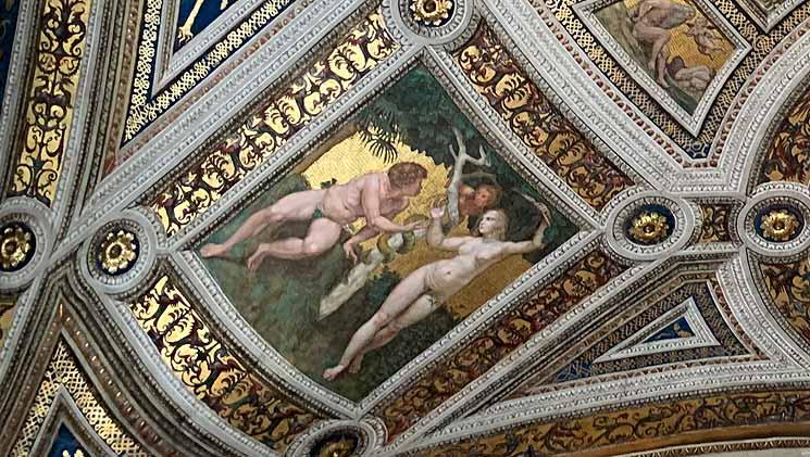 署名の間の天井画 アダムとエヴァの誘惑