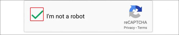 I'm not a robot(私はロボットではありません)のチェック例