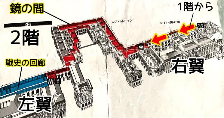 ヴェルサイユ宮殿 2階フロアマップ
