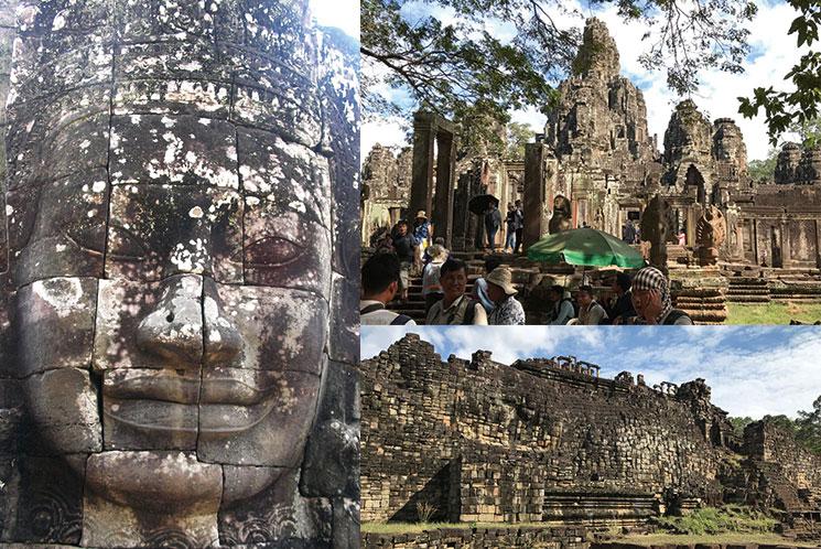 アンコール・トムの仏像と遺跡