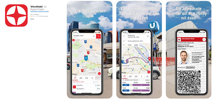 ウィーン交通機関の公式アプリ「WienMobil」