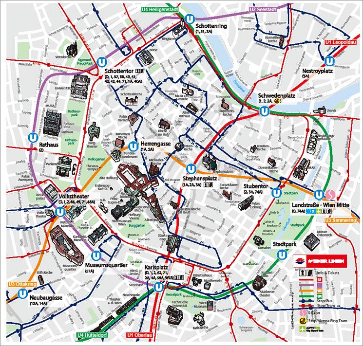 ウィーン市内中心部 地図兼路線図