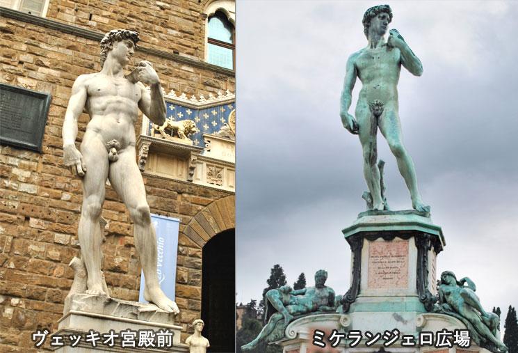 ヴェッキオ宮殿とミケランジェロ広場のダヴィデ象レプリカ