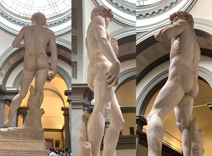 ダヴィデ像の背面と下半身部分