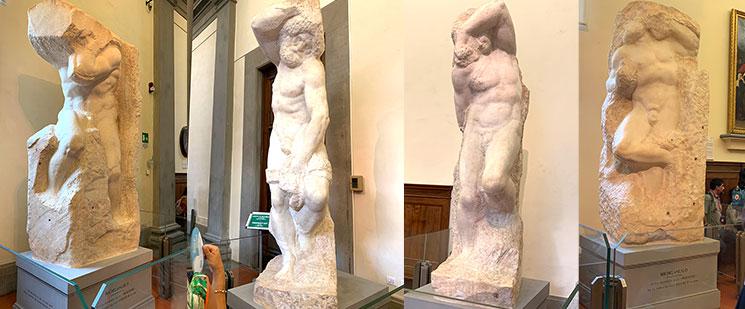 奴隷(囚人)シリーズの彫刻4点 - ミケランジェロ作