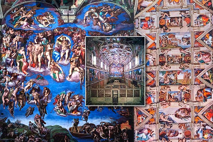 システィーナ礼拝堂の壁画と天井画